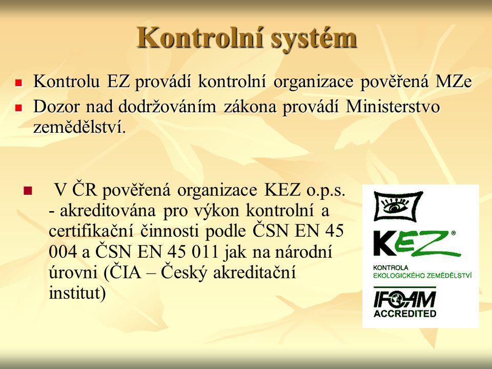 Kontrolní systém Kontrolu EZ provádí kontrolní organizace pověřená MZe Kontrolu EZ provádí kontrolní organizace pověřená MZe Dozor nad dodržováním zák