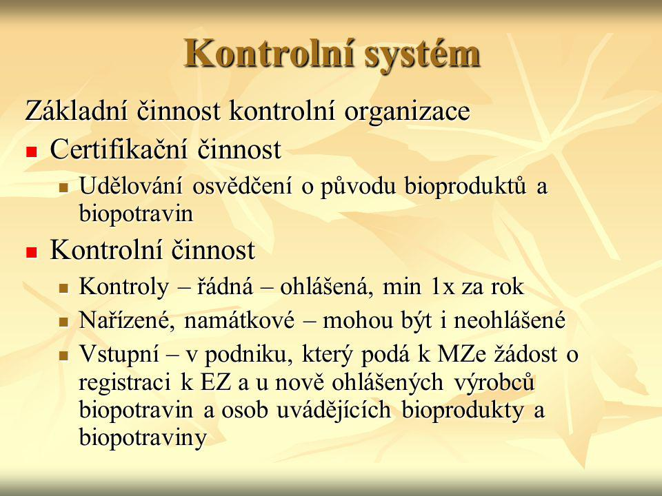 Kontrolní systém Základní činnost kontrolní organizace Certifikační činnost Certifikační činnost Udělování osvědčení o původu bioproduktů a biopotravi