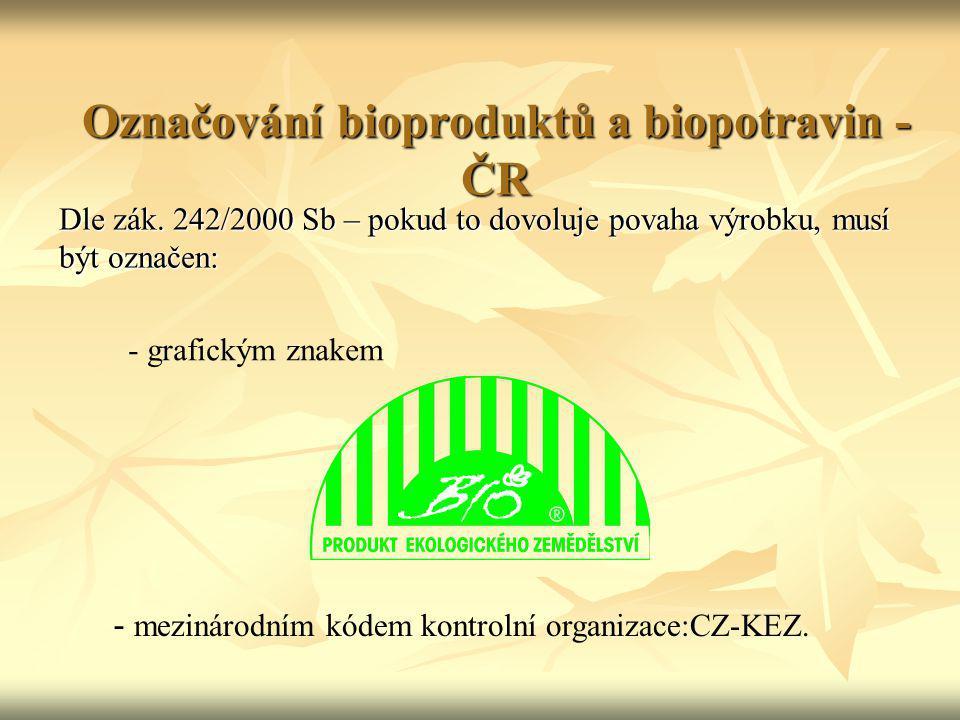 Označování bioproduktů a biopotravin - ČR Dle zák. 242/2000 Sb – pokud to dovoluje povaha výrobku, musí být označen: - grafickým znakem - mezinárodním