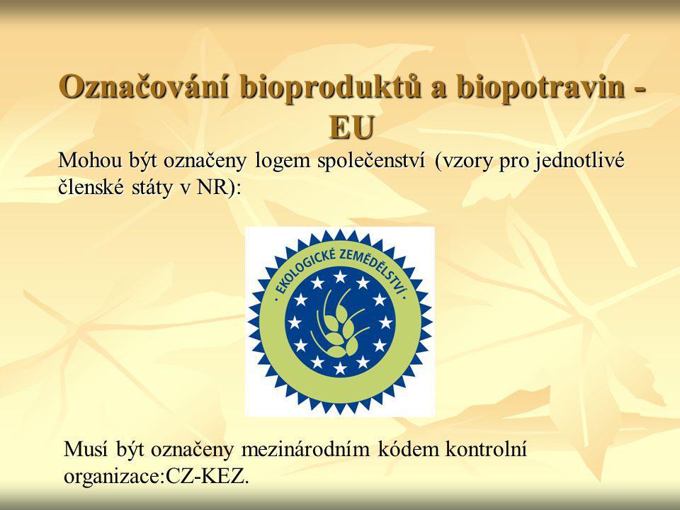 Označování bioproduktů a biopotravin - EU Mohou být označeny logem společenství (vzory pro jednotlivé členské státy v NR): Musí být označeny mezinárod