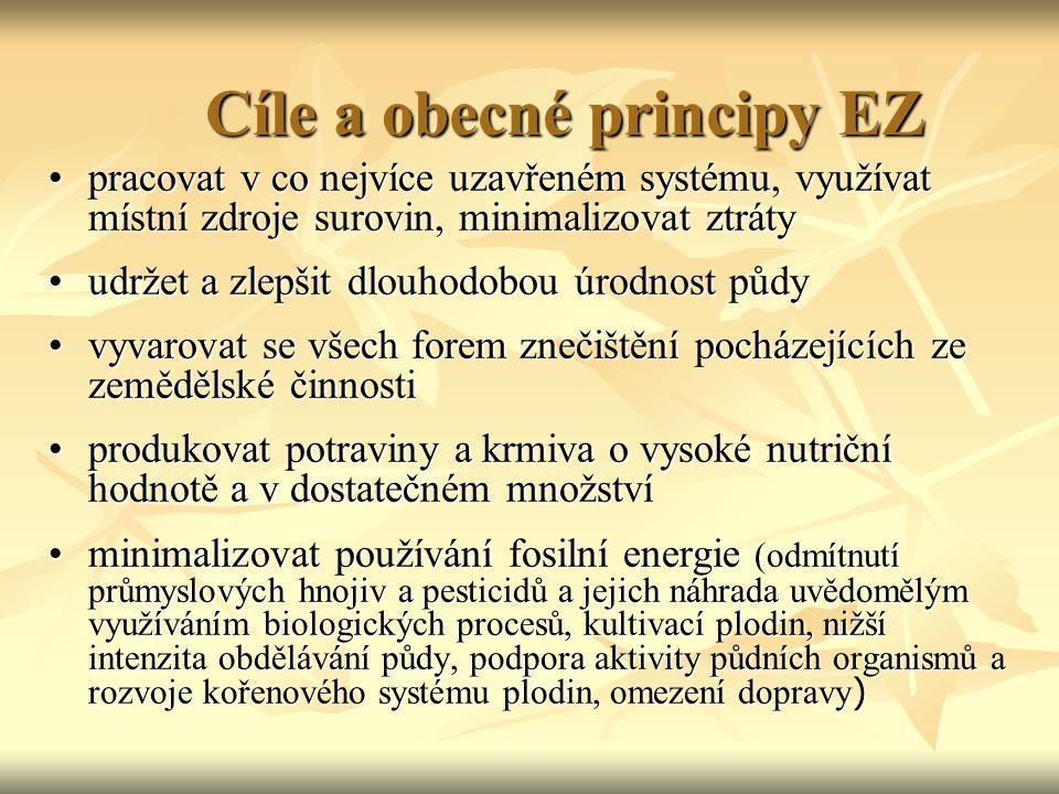 Cíle a obecné principy EZ pracovat v co nejvíce uzavřeném systému, využívat místní zdroje surovin, minimalizovat ztrátypracovat v co nejvíce uzavřeném