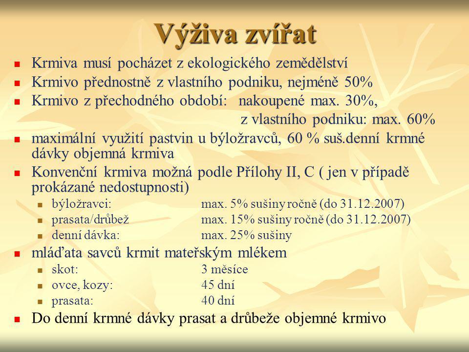 Výživa zvířat Krmiva musí pocházet z ekologického zemědělství Krmivo přednostně z vlastního podniku, nejméně 50% Krmivo z přechodného období: nakoupen