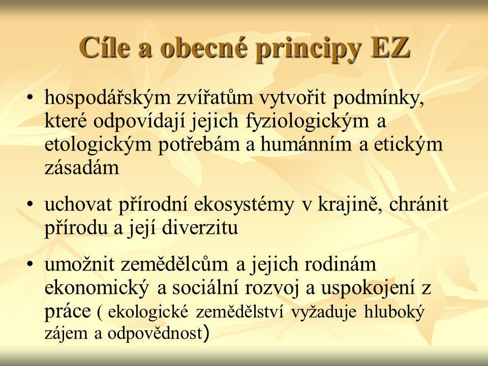 Cíle a obecné principy EZ hospodářským zvířatům vytvořit podmínky, které odpovídají jejich fyziologickým a etologickým potřebám a humánním a etickým z