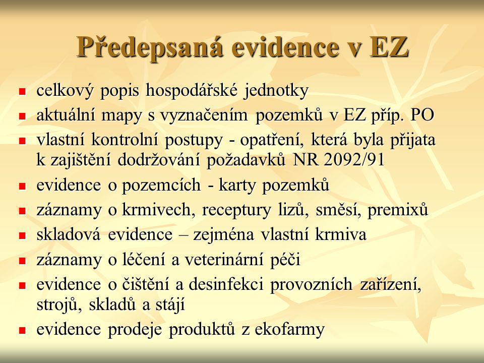 Předepsaná evidence v EZ celkový popis hospodářské jednotky celkový popis hospodářské jednotky aktuální mapy s vyznačením pozemků v EZ příp. PO aktuál