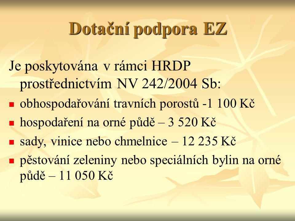 Dotační podpora EZ Je poskytována v rámci HRDP prostřednictvím NV 242/2004 Sb: obhospodařování travních porostů -1 100 Kč hospodaření na orné půdě – 3