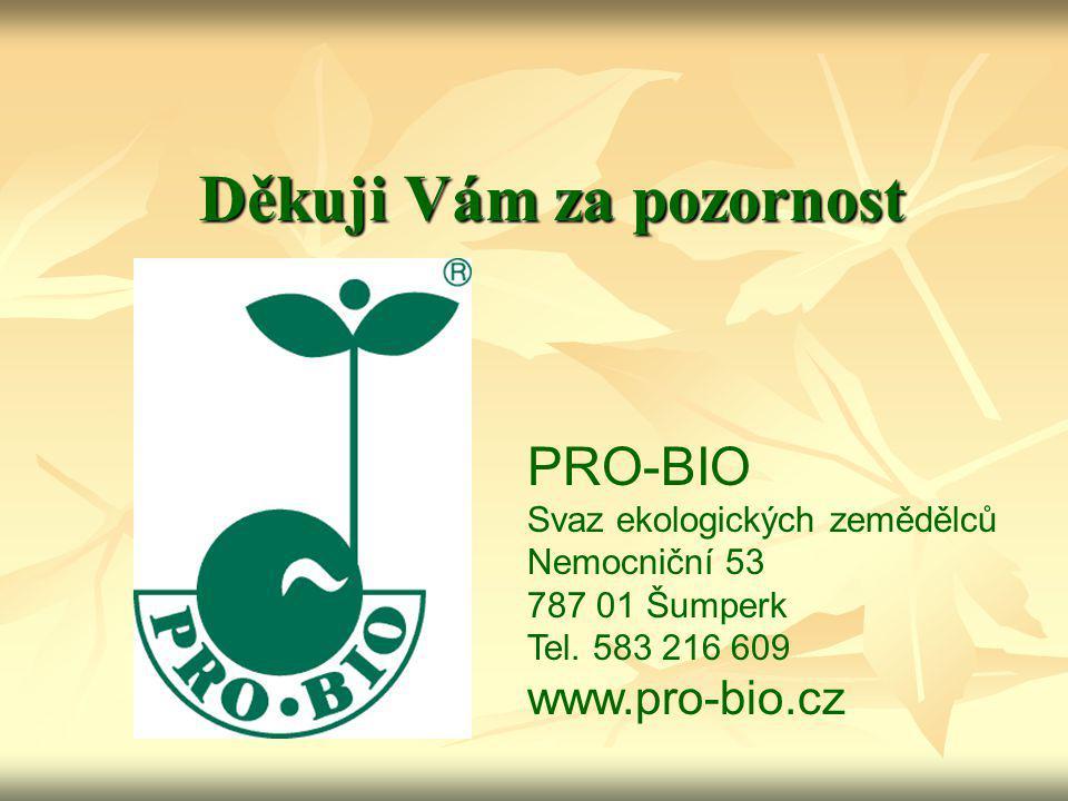 Děkuji Vám za pozornost PRO-BIO Svaz ekologických zemědělců Nemocniční 53 787 01 Šumperk Tel. 583 216 609 www.pro-bio.cz