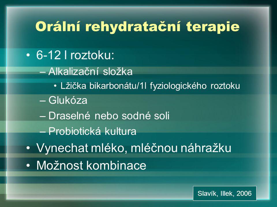 Orální rehydratační terapie 6-12 l roztoku: –Alkalizační složka Lžička bikarbonátu/1l fyziologického roztoku –Glukóza –Draselné nebo sodné soli –Probiotická kultura Vynechat mléko, mléčnou náhražku Možnost kombinace Slavík, Illek, 2006