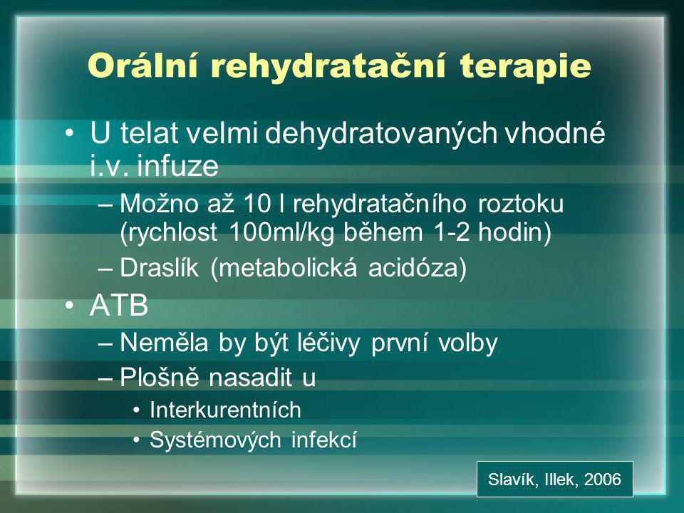 Orální rehydratační terapie U telat velmi dehydratovaných vhodné i.v.