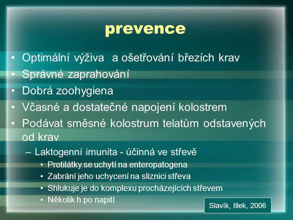 prevence Optimální výživa a ošetřování březích krav Správné zaprahování Dobrá zoohygiena Včasné a dostatečné napojení kolostrem Podávat směsné kolostrum telatům odstavených od krav –Laktogenní imunita - účinná ve střevě Protilátky se uchytí na enteropatogena Zabrání jeho uchycení na sliznici střeva Shlukuje je do komplexu procházejících střevem Několik h po napití Slavík, Illek, 2006