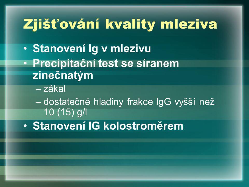 Zjišťování kvality mleziva Stanovení Ig v mlezivu Precipitační test se síranem zinečnatým –zákal –dostatečné hladiny frakce IgG vyšší než 10 (15) g/l Stanovení IG kolostroměrem