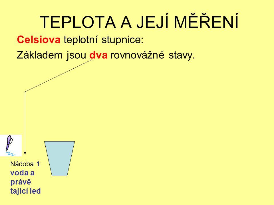 TEPLOTA A JEJÍ MĚŘENÍ Celsiova teplotní stupnice: Základem jsou dva rovnovážné stavy. Nádoba 1: voda a právě tající led