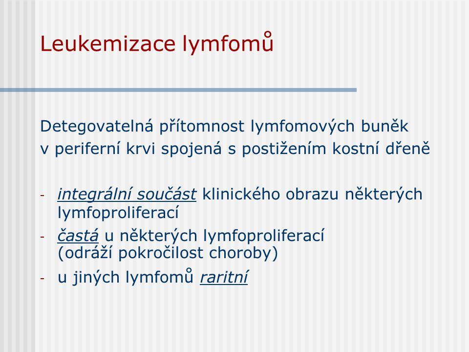 Leukemizace lymfomů Detegovatelná přítomnost lymfomových buněk v periferní krvi spojená s postižením kostní dřeně - integrální součást klinického obra