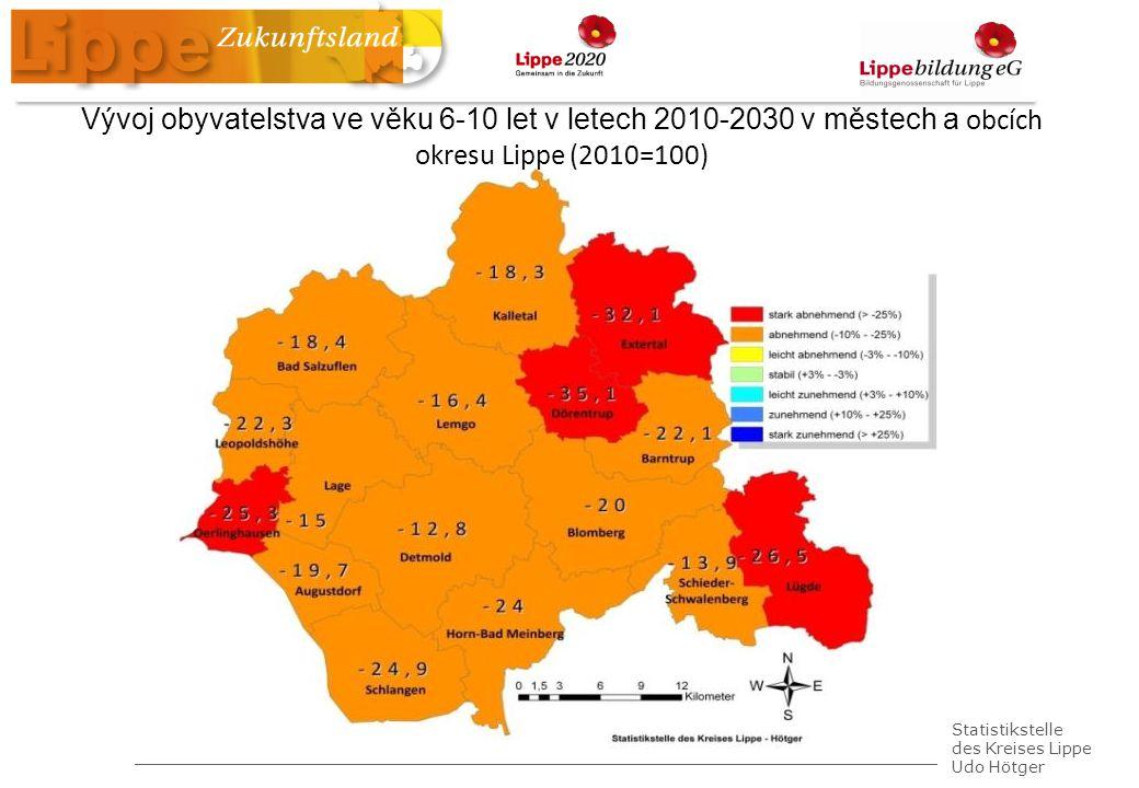 Statistikstelle des Kreises Lippe Udo Hötger Vývoj obyvatelstva ve věku 6-10 let v letech 2010-2030 v městech a obcích okresu Lippe (2010=100)