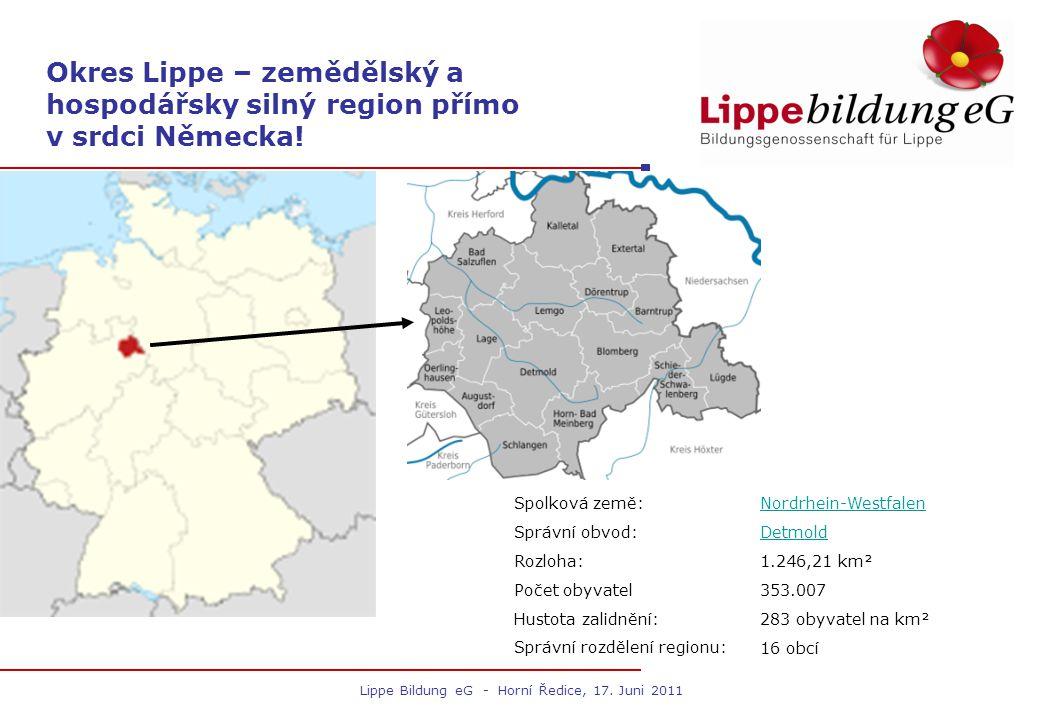 Lippe Bildung eG - Horní Ředice, 17. Juni 2011 Spolková země:Nordrhein-Westfalen Správní obvod:Detmold Rozloha:1.246,21 km² Počet obyvatel353.007 Hust