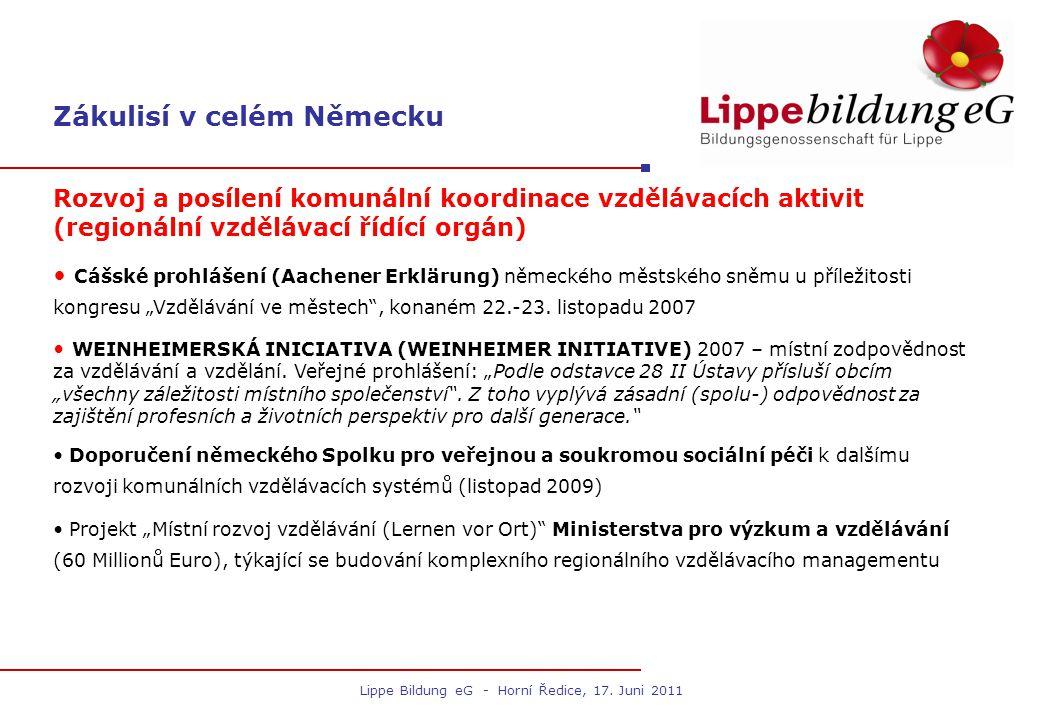 Zákulisí v okrese Lippe Vytvoření celokrajského vzdělávacího řídícího orgánu od poloviny roku 2007 Rozhodnutí okresního sněmu o založení koordinačního orgánu pro řízení vzdělávání mimo působnost úřadu okresu Lippe (2007).