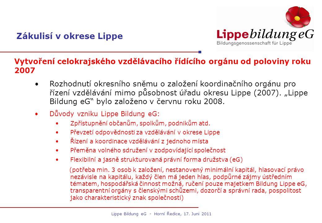 Zákulisí v okrese Lippe Vytvoření celokrajského vzdělávacího řídícího orgánu od poloviny roku 2007 Rozhodnutí okresního sněmu o založení koordinačního