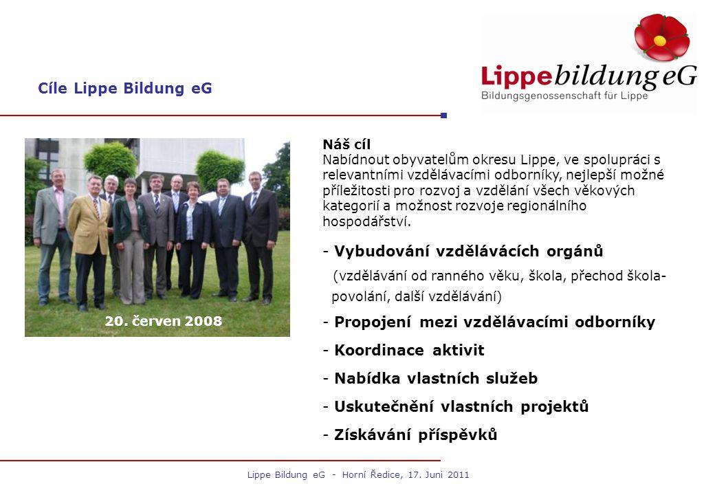 Cíle Lippe Bildung eG 20. červen 2008 - Vybudování vzdělávácích orgánů (vzdělávání od ranného věku, škola, přechod škola- povolání, další vzdělávání)