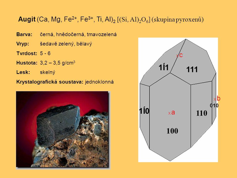 Augit (Ca, Mg, Fe 2+, Fe 3+, Ti, Al) 2 [(Si, Al) 2 O 6 ] (skupina pyroxenů) Barva:černá, hnědočerná, tmavozelená Vryp:šedavě zelený, bělavý Tvrdost:5 - 6 Hustota:3,2 – 3,5 g/cm 3 Lesk:skelný Krystalografická soustava: jednoklonná X c X a X b 100 110 1Í01Í0 010 111 1Í11Í1