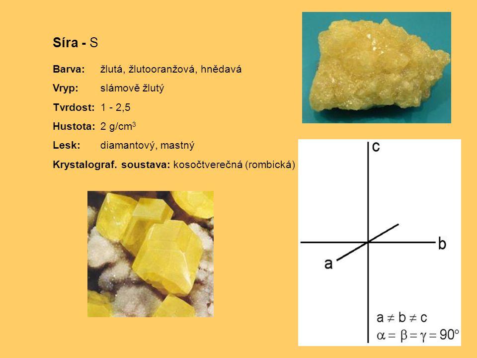 Síra - S Barva:žlutá, žlutooranžová, hnědavá Vryp:slámově žlutý Tvrdost:1 - 2,5 Hustota:2 g/cm 3 Lesk:diamantový, mastný Krystalograf.