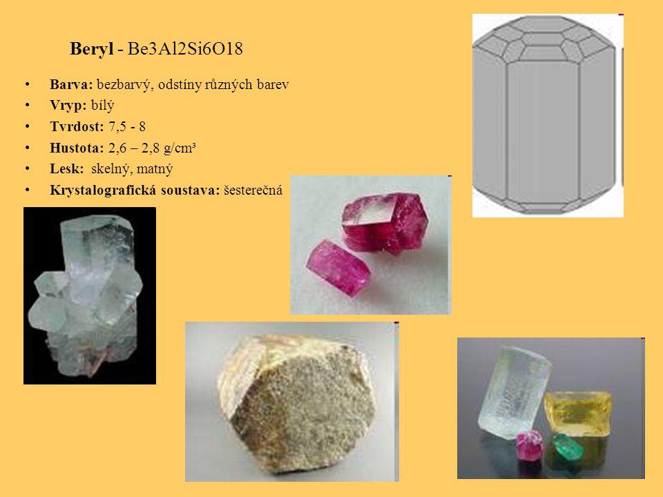 Beryl - Be3Al2Si6O18 Barva: bezbarvý, odstíny různých barev Vryp: bílý Tvrdost: 7,5 - 8 Hustota: 2,6 – 2,8 g/cm³ Lesk: skelný, matný Krystalografická soustava: šesterečná