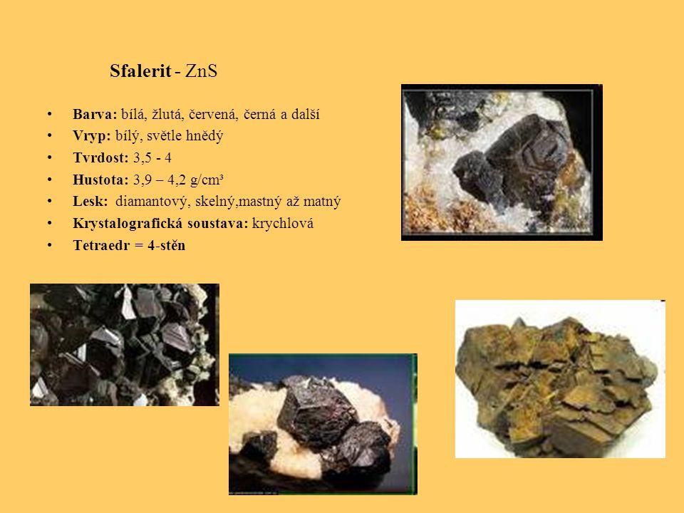 Sfalerit - ZnS Barva: bílá, žlutá, červená, černá a další Vryp: bílý, světle hnědý Tvrdost: 3,5 - 4 Hustota: 3,9 – 4,2 g/cm³ Lesk: diamantový, skelný,mastný až matný Krystalografická soustava: krychlová Tetraedr = 4-stěn