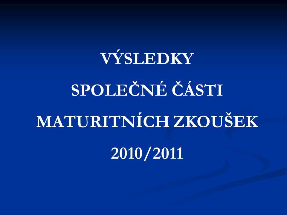 VÝSLEDKY SPOLEČNÉ ČÁSTI MATURITNÍCH ZKOUŠEK 2010/2011