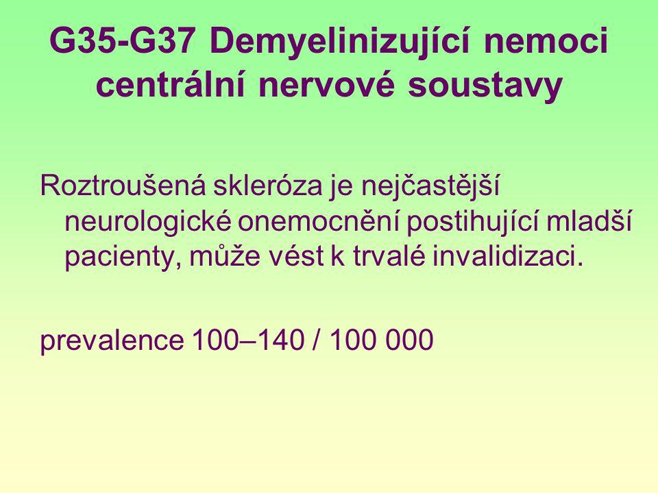 G35-G37 Demyelinizující nemoci centrální nervové soustavy Roztroušená skleróza je nejčastější neurologické onemocnění postihující mladší pacienty, můž