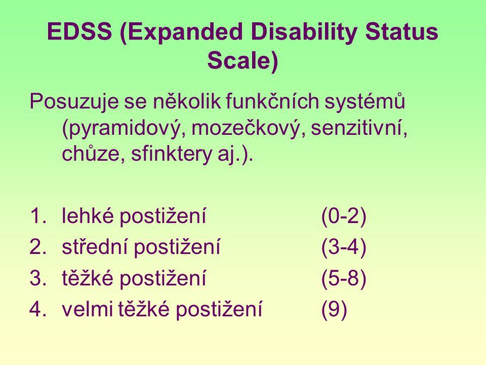EDSS (Expanded Disability Status Scale) Posuzuje se několik funkčních systémů (pyramidový, mozečkový, senzitivní, chůze, sfinktery aj.). 1.lehké posti