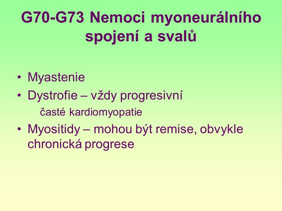 G70-G73 Nemoci myoneurálního spojení a svalů Myastenie Dystrofie – vždy progresivní časté kardiomyopatie Myositidy – mohou být remise, obvykle chronic