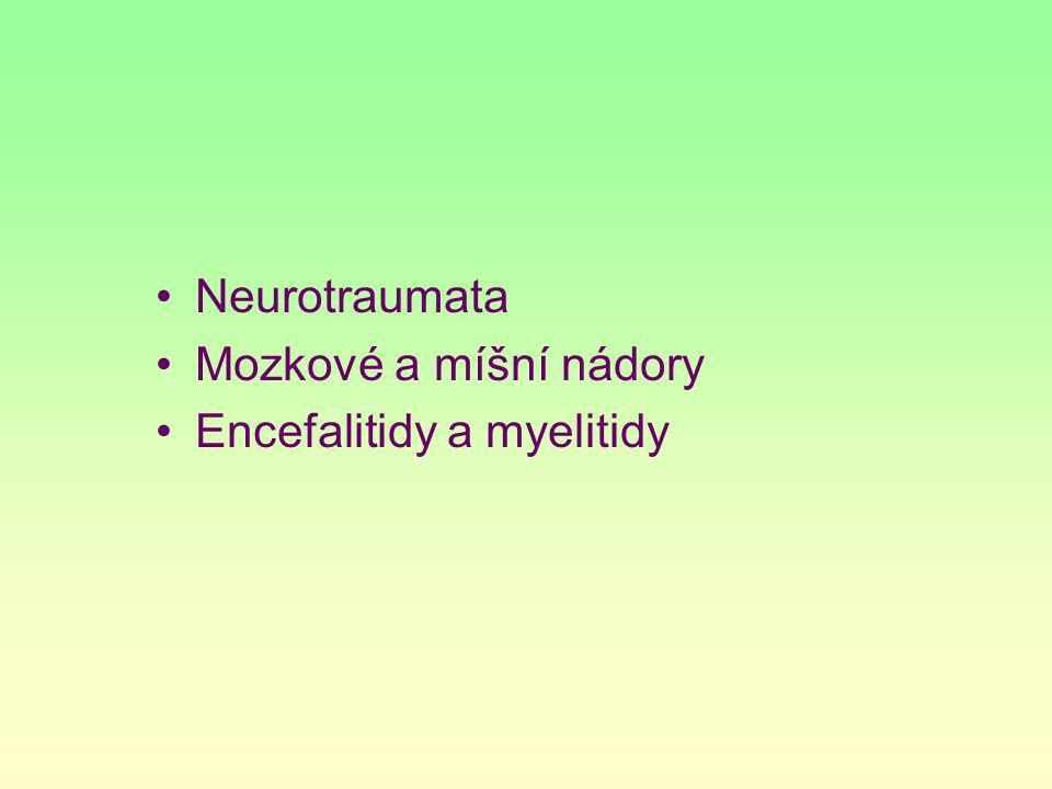 Neurotraumata Mozkové a míšní nádory Encefalitidy a myelitidy