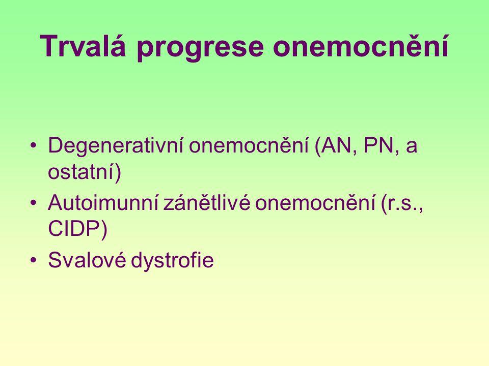Trvalá progrese onemocnění Degenerativní onemocnění (AN, PN, a ostatní) Autoimunní zánětlivé onemocnění (r.s., CIDP) Svalové dystrofie