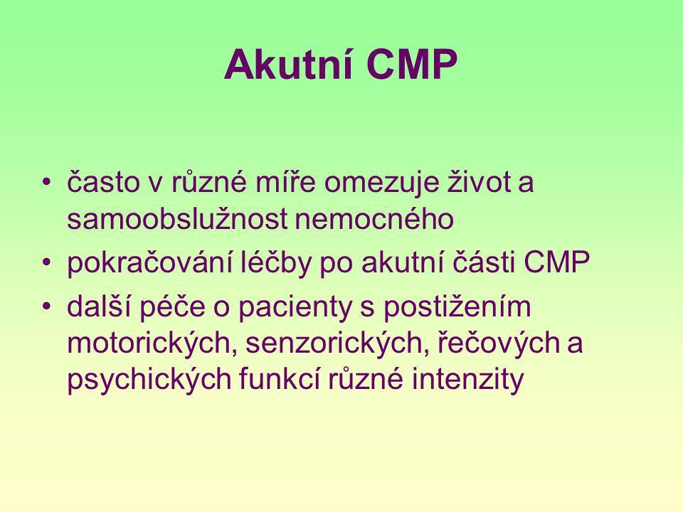 Akutní CMP často v různé míře omezuje život a samoobslužnost nemocného pokračování léčby po akutní části CMP další péče o pacienty s postižením motori