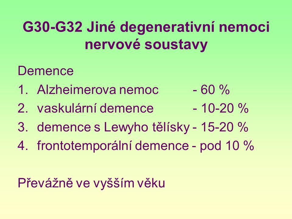 G30-G32 Jiné degenerativní nemoci nervové soustavy Demence 1.Alzheimerova nemoc - 60 % 2.vaskulární demence - 10-20 % 3.demence s Lewyho tělísky - 15-