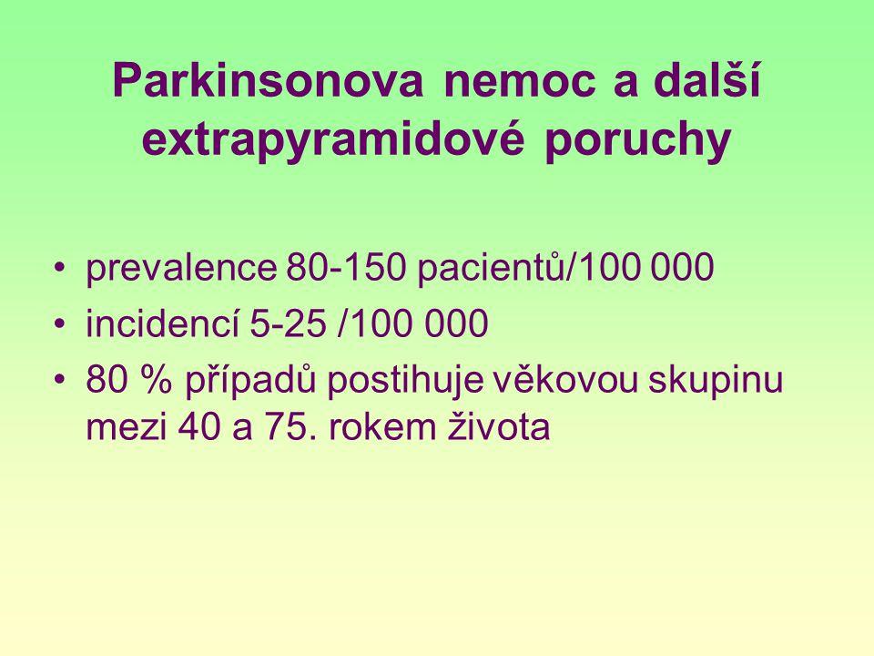 Parkinsonova nemoc a další extrapyramidové poruchy prevalence 80-150 pacientů/100 000 incidencí 5-25 /100 000 80 % případů postihuje věkovou skupinu m
