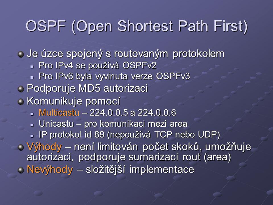 OSPF (Open Shortest Path First) Je úzce spojený s routovaným protokolem Pro IPv4 se používá OSPFv2 Pro IPv4 se používá OSPFv2 Pro IPv6 byla vyvinuta v