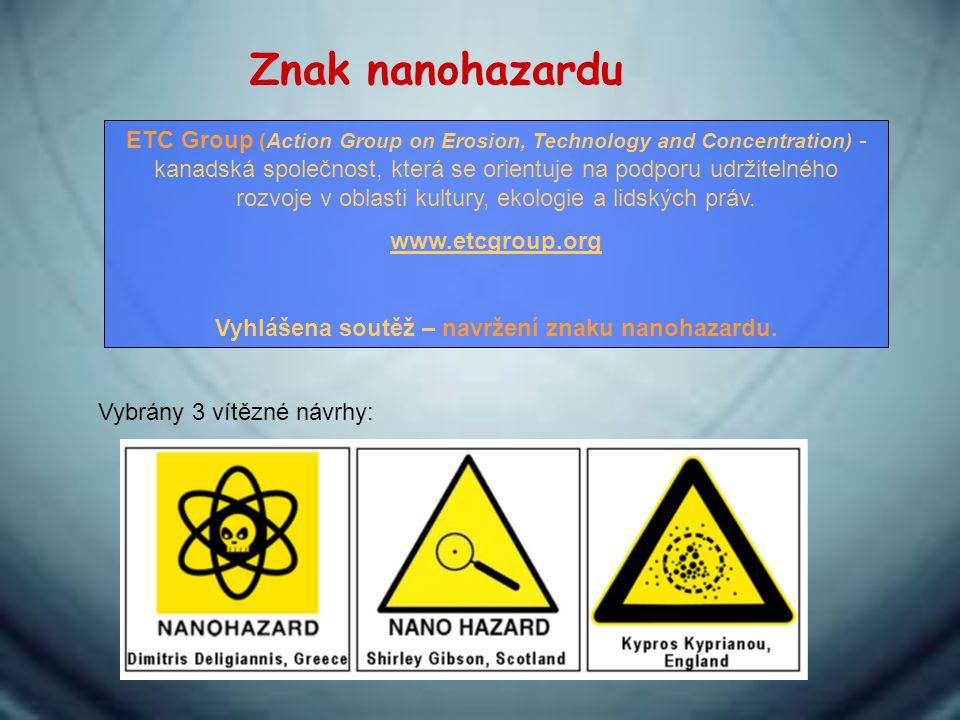 Znak nanohazardu ETC Group (Action Group on Erosion, Technology and Concentration) - kanadská společnost, která se orientuje na podporu udržitelného r