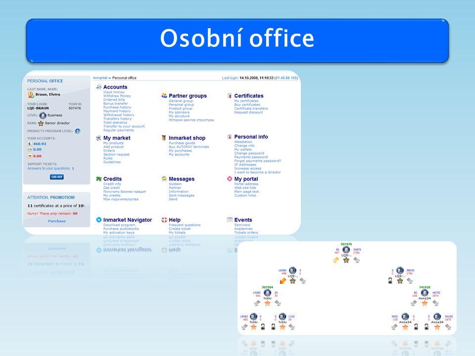"""Produkt - individuální internetový produkt – office - kurz """"zaklady praci s internetem - kurz """"elektronicky platebni systemy v internetu - kurz """"prace s pocitacem - kurz """"zaklady praci s Windowsem - kurz """"Microsoft Word - kurz """"Microsoft Excel - kurz """"Microsoft Outlook - kurz """"Microsoft Powerpoint - kurz """"vytváření internetových stran a domovské stránky - kurz """" práce s databankou - kurz """" elektronický obchod - tři buňky ve struktuře partnerů - interní účet - platební systém pro interní a externí převod plateb - účast na programu """"bonus partner - účast na programu """"bonus úspory - účast na programu """" bonus produkty - účast na programu """" super bonus (buňka v programu struktury) - účast na programu """" bonus office - účast na programu """" zlatý bonus - účast na programu """" bonus prémie vystavování vlastního zboží nebo služeb na portálu Inmarketu (servis """"můj trh ) )"""