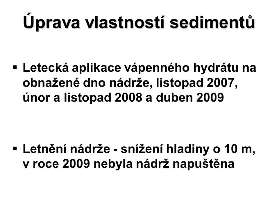 Úprava vlastností sedimentů   Letecká aplikace vápenného hydrátu na obnažené dno nádrže, listopad 2007, únor a listopad 2008 a duben 2009   Letnění nádrže - snížení hladiny o 10 m, v roce 2009 nebyla nádrž napuštěna