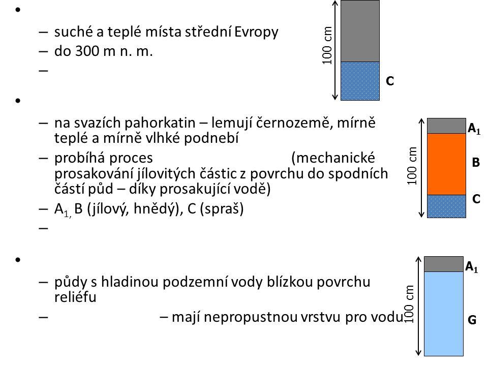 – suché a teplé místa střední Evropy – do 300 m n. m. – – na svazích pahorkatin – lemují černozemě, mírně teplé a mírně vlhké podnebí – probíhá proces