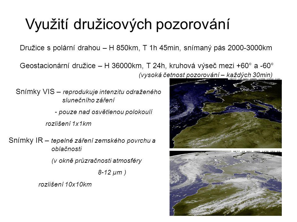 Využití družicových pozorování Družice s polární drahou – H 850km, T 1h 45min, snímaný pás 2000-3000km Geostacionární družice – H 36000km, T 24h, kruh