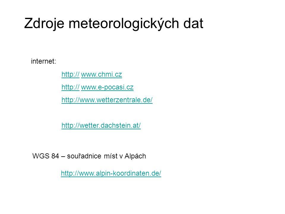 Zdroje meteorologických dat internet: http:// www.chmi.czhttp://www.chmi.cz http:// www.e-pocasi.czhttp://www.e-pocasi.cz http://www.wetterzentrale.de