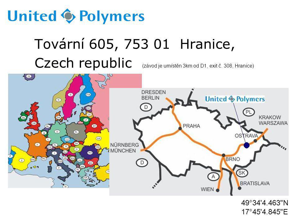 Tovární 605, 753 01 Hranice, Czech republic (závod je umístěn 3km od D1, exit č. 308, Hranice) 49°34'4.463