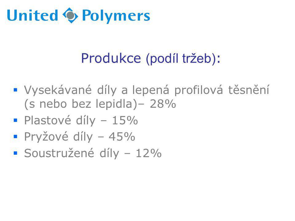 Produkce (podíl tržeb) :  Vysekávané díly a lepená profilová těsnění (s nebo bez lepidla)– 28%  Plastové díly – 15%  Pryžové díly – 45%  Soustruže