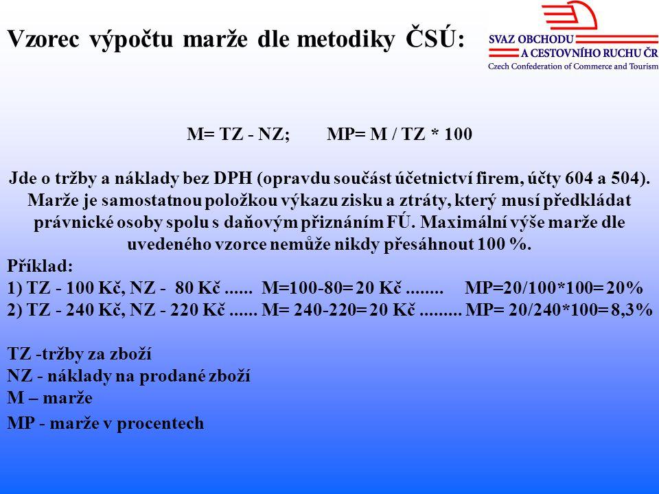 M= TZ - NZ; MP= M / TZ * 100 Jde o tržby a náklady bez DPH (opravdu součást účetnictví firem, účty 604 a 504).