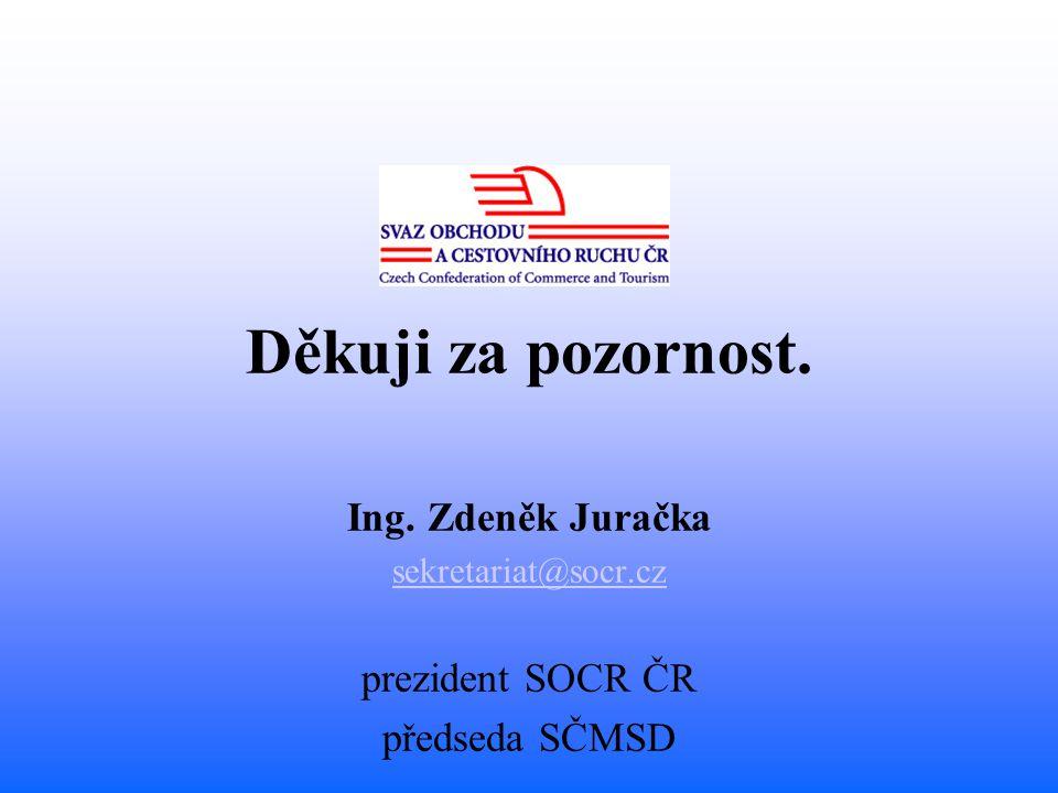 Děkuji za pozornost. Ing. Zdeněk Juračka sekretariat@socr.cz prezident SOCR ČR předseda SČMSD