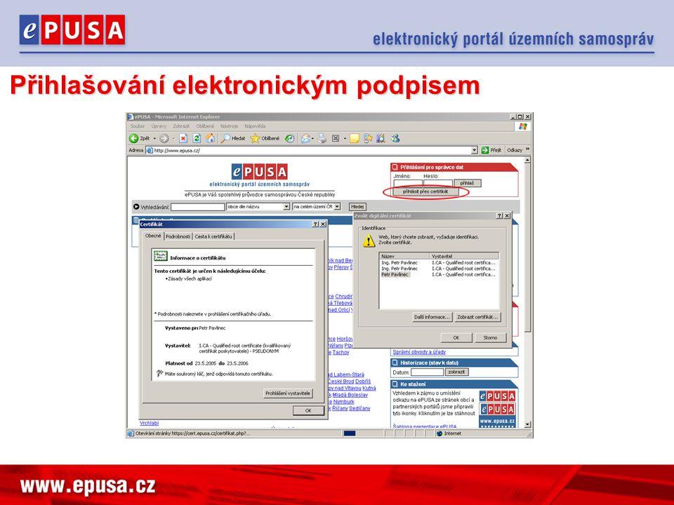 Přihlašování elektronickým podpisem
