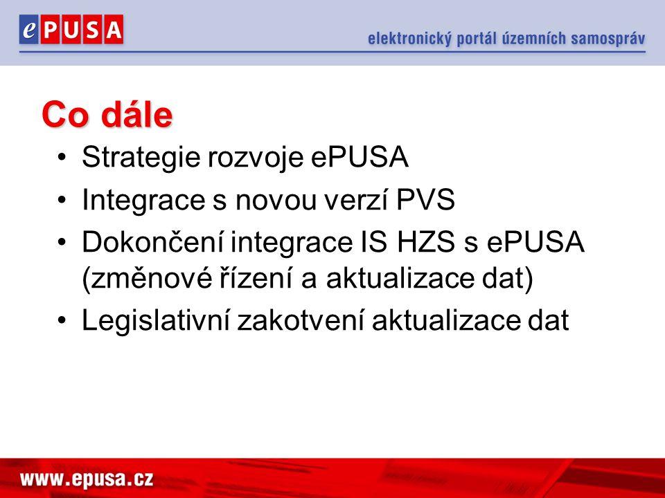 Co dále Strategie rozvoje ePUSA Integrace s novou verzí PVS Dokončení integrace IS HZS s ePUSA (změnové řízení a aktualizace dat) Legislativní zakotve