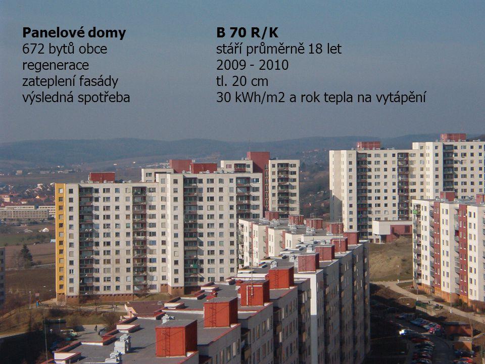 Panelové domy B 70 R/K 672 bytů obce stáří průměrně 18 let regenerace2009 - 2010 zateplení fasádytl.