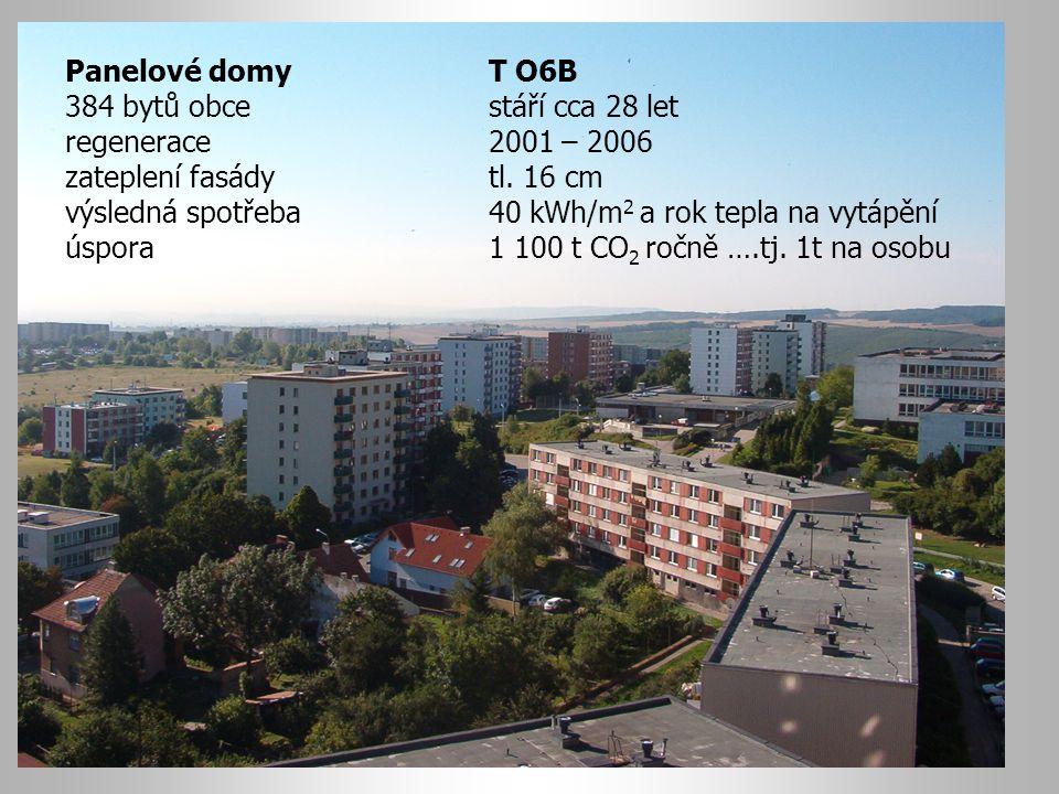 Panelové domyT O6B 384 bytů obce stáří cca 28 let regenerace2001 – 2006 zateplení fasády tl. 16 cm výsledná spotřeba 40 kWh/m 2 a rok tepla na vytápěn