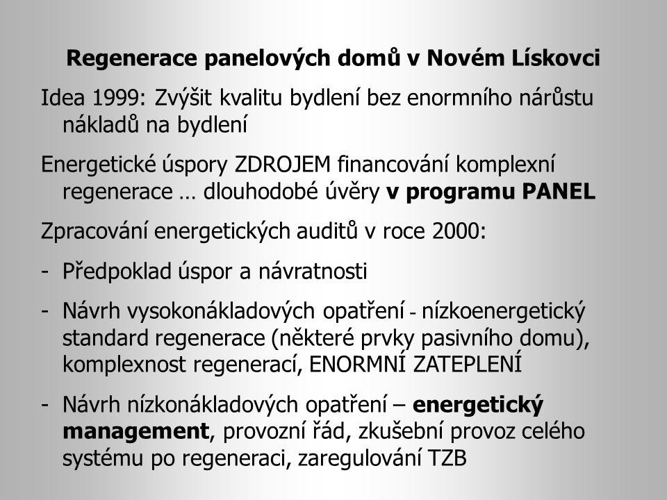 Regenerace panelových domů v Novém Lískovci Idea 1999: Zvýšit kvalitu bydlení bez enormního nárůstu nákladů na bydlení Energetické úspory ZDROJEM financování komplexní regenerace … dlouhodobé úvěry v programu PANEL Zpracování energetických auditů v roce 2000: -Předpoklad úspor a návratnosti -Návrh vysokonákladových opatření - nízkoenergetický standard regenerace (některé prvky pasivního domu), komplexnost regenerací, ENORMNÍ ZATEPLENÍ -Návrh nízkonákladových opatření – energetický management, provozní řád, zkušební provoz celého systému po regeneraci, zaregulování TZB